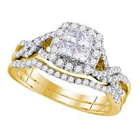 10kt Yellow Gold Womens Princess Diamond Twist Bridal Wedding Engagement Ring Band Set 1.00 Cttw