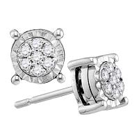 10kt White Gold Womens Round Diamond Flower Cluster Screwback Earrings 1/8 Cttw