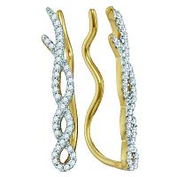 10kt Yellow Gold Womens Round Diamond Twist Woven Climber Earrings 1/4 Cttw