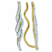 10kt Yellow Gold Womens Round Diamond Vertical Twist Climber Earrings 1/4 Cttw