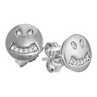 10kt White Gold Womens Round Diamond Smiley Face Screwback Earrings 1/20 Cttw