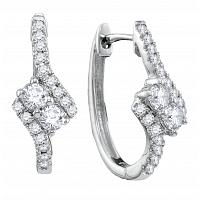 14kt White Gold Womens Round Diamond 2-stone Hearts Together Bypass Hoop Earrings 1/2 Cttw