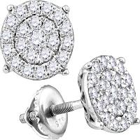 10kt White Gold Womens Round Diamond Cindy\'s Dream Cluster Earrings 1-3/8 Cttw