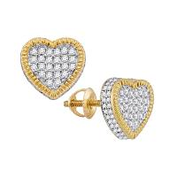 10kt Yellow Gold Womens Round Diamond Heart Fluted Cluster Stud Earrings 7/8 Cttw