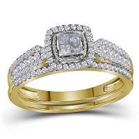 14kt Yellow Gold Womens Princess Diamond Halo Bridal Wedding Engagement Ring Band Set 1/2 Cttw