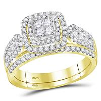 14kt Yellow Gold Womens Princess Diamond Cluster Halo Bridal Wedding Engagement Ring Band Set 1.00 Cttw