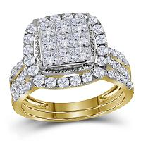 14kt Yellow Gold Womens Princess Diamond Halo Bridal Wedding Engagement Ring Band Set 1-3/4 Cttw
