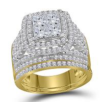 14kt Yellow Gold Womens Princess Diamond Halo Bridal Wedding Engagement Ring Band Set 3.00 Cttw