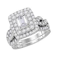 14kt White Gold Womens Emerald Diamond Bridal Wedding Engagement Ring Band Set 2.00 Cttw