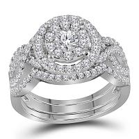 14kt White Gold Womens Round Diamond Halo Bridal Wedding Engagement Ring Band Set 1-1/4 Cttw