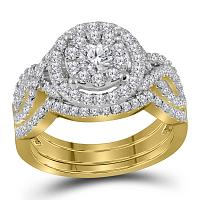 14kt Yellow Gold Womens Round Diamond Halo Bridal Wedding Engagement Ring Band Set 1-1/4 Cttw