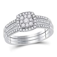 10kt White Gold Womens Round Diamond 3-Piece Cluster Bridal Wedding Engagement Ring Band Set 1/2 Cttw
