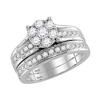 14kt White Gold Womens Round Diamond Flower Cluster Bridal Wedding Engagement Ring Band Set 1.00 Cttw