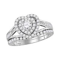14kt White Gold Womens Round Diamond Heart Bridal Wedding Engagement Ring Band Set 1.00 Cttw