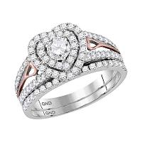 14kt Two-tone Gold Womens Round Diamond Heart Bridal Wedding Engagement Ring Band Set 1-1/5 Cttw