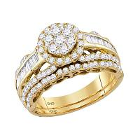 14kt Yellow Gold Womens Round Diamond Cluster Bridal Wedding Engagement Ring Band Set 1-1/2 Cttw