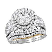 10kt Two-tone Gold Womens Round Diamond Cluster Bridal Wedding Engagement Ring Band Set 2-5/8 Cttw