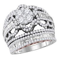 14kt Two-tone Gold Womens Round Diamond Bridal Wedding Engagement Ring Band Set 2-1/2 Cttw