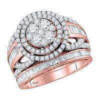 14kt Rose Gold Womens Round Diamond Halo Bridal Wedding Engagement Ring Band Set 1-7/8 Cttw