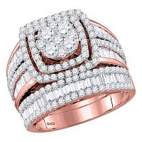 14kt Rose Gold Womens Round Diamond Bridal Wedding Engagement Ring Band Set 2-1/2 Cttw