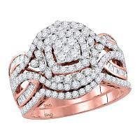 14kt Rose Gold Womens Round Diamond Bridal Wedding Engagement Ring Band Set 1-1/2 Cttw
