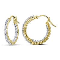 14kt Yellow Gold Womens Round Diamond Single Row Hoop Earrings 1.00 Cttw