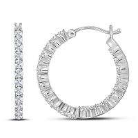 14kt White Gold Womens Round Diamond Single Row Hoop Earrings 1-1/2 Cttw