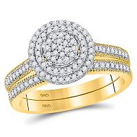 10kt Yellow Gold Womens Round Diamond Cluster Milgrain Bridal Wedding Engagement Ring Band Set 1/3 Cttw