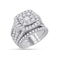 14kt White Gold Womens Round Diamond Bridal Wedding Engagement Ring Band Set 4.00 Cttw