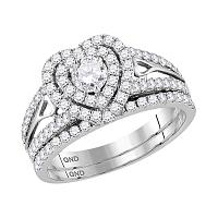 14kt White Gold Womens Round Diamond Heart Bridal Wedding Engagement Ring Band Set 1-1/5 Cttw