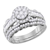 14kt White Gold Womens Round Diamond Cluster Bridal Wedding Engagement Ring Band Set 1-1/2 Cttw