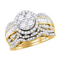 14kt Yellow Gold Womens Round Diamond Cluster Halo Bridal Wedding Engagement Ring Band Set 1-3/8 Cttw