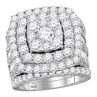 14kt White Gold Womens Round Diamond Bridal Wedding Engagement Ring Band Set 6.00 Cttw