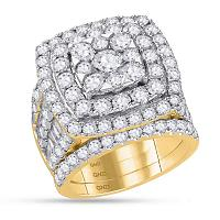 14kt Yellow Gold Womens Round Diamond Bridal Wedding Engagement Ring Band Set 6.00 Cttw
