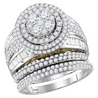 14kt Two-tone White Gold Womens Round Diamond Cluster Bridal Wedding Engagement Ring Band Set 2-1/2 Cttw