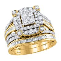 14kt Yellow Gold Womens Round Diamond Cluster Bridal Wedding Engagement Ring Band Set 1-3/4 Cttw