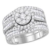 14kt White Gold Womens Round Diamond Cluster Bridal Wedding Engagement Ring Band 3-Piece Set 2-1/12 Cttw