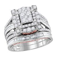 14kt Two-tone Gold Womens Round Diamond Bridal Wedding Engagement Ring Band Set 1-3/4 Cttw