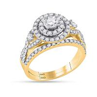 14kt Yellow Gold Womens Round Diamond Halo Bridal Wedding Engagement Ring Band Set 1-1/2 Cttw