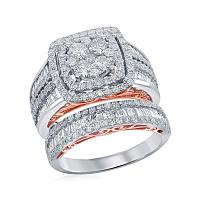 14kt Two-tone White Gold Womens Round Diamond Cluster Bridal Wedding Engagement Ring Band Set 2-5/8 Cttw