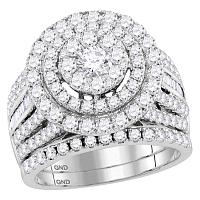 14kt White Gold Womens Round Diamond Cluster Bridal Wedding Engagement Ring Band Set 3-1/8 Cttw