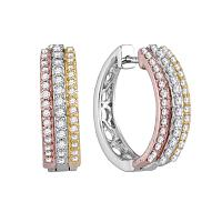 10kt Tri-Tone Gold Womens Round Diamond Hoop Earrings 1/2 Cttw