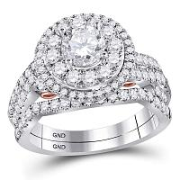 14kt Two-tone Gold Womens Round Diamond Bellissimo Bridal Wedding Engagement Ring Band Set 2.00 Cttw