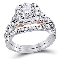 14kt Two-tone Gold Womens Round Diamond Bellissimo Bridal Wedding Engagement Ring Band Set 1-3/4 Cttw