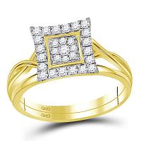 10kt Yellow Gold Womens Round Diamond Square Cluster Bridal Wedding Engagement Ring Band Set 1/3 Cttw