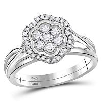10kt White Gold Womens Round Diamond Flower Cluster Bridal Wedding Engagement Ring Band Set 1/3 Cttw