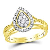 10kt Yellow Gold Womens Round Diamond Teardrop Cluster Bridal Wedding Engagement Ring Band Set 1/3 Cttw