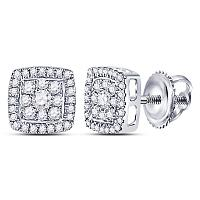 14kt White Gold Womens Round Diamond Square Cluster Earrings 1/3 Cttw