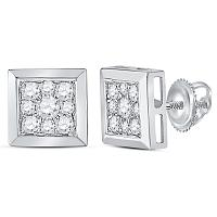 14kt White Gold Womens Round Diamond Square Cluster Stud Earrings 1/2 Cttw