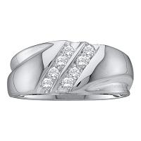 10kt White Gold Mens Round Diamond 2-Row Wedding Band Ring 1/4 Cttw
